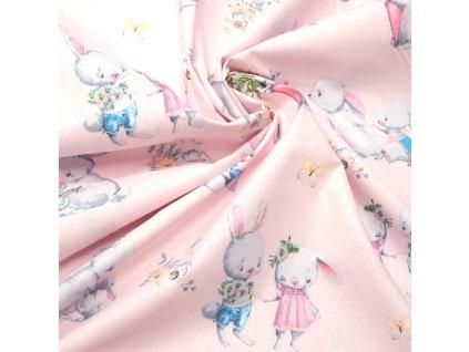 bavlněná látka králíci na růžové (3)