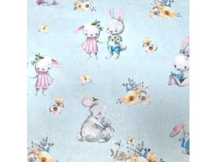 bavlněná látka králíci na modré (4)