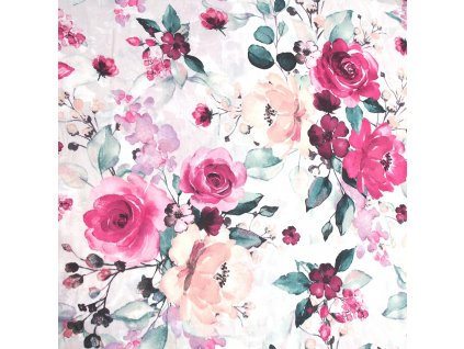 bavlněná látka malovaná růže lososová