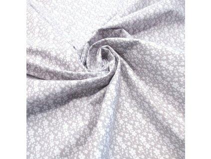 bavlněná látka bílá kytička na šedé (3)