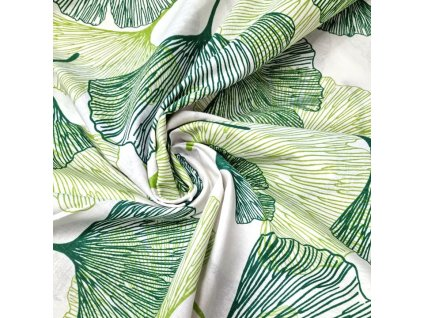 bavlněná látka zelené ginko listy (2)