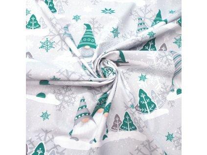 vánoční látka skřítci do zelena (3)