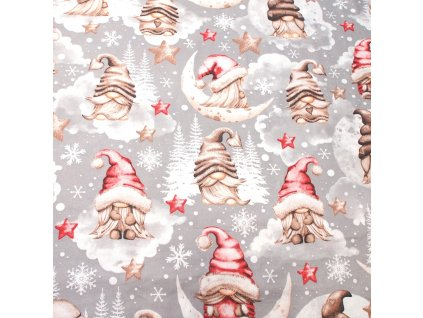 vánoční látka skřítci do hněda