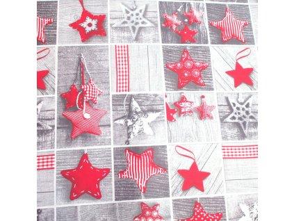 vánoční látka patchwork hvězdy
