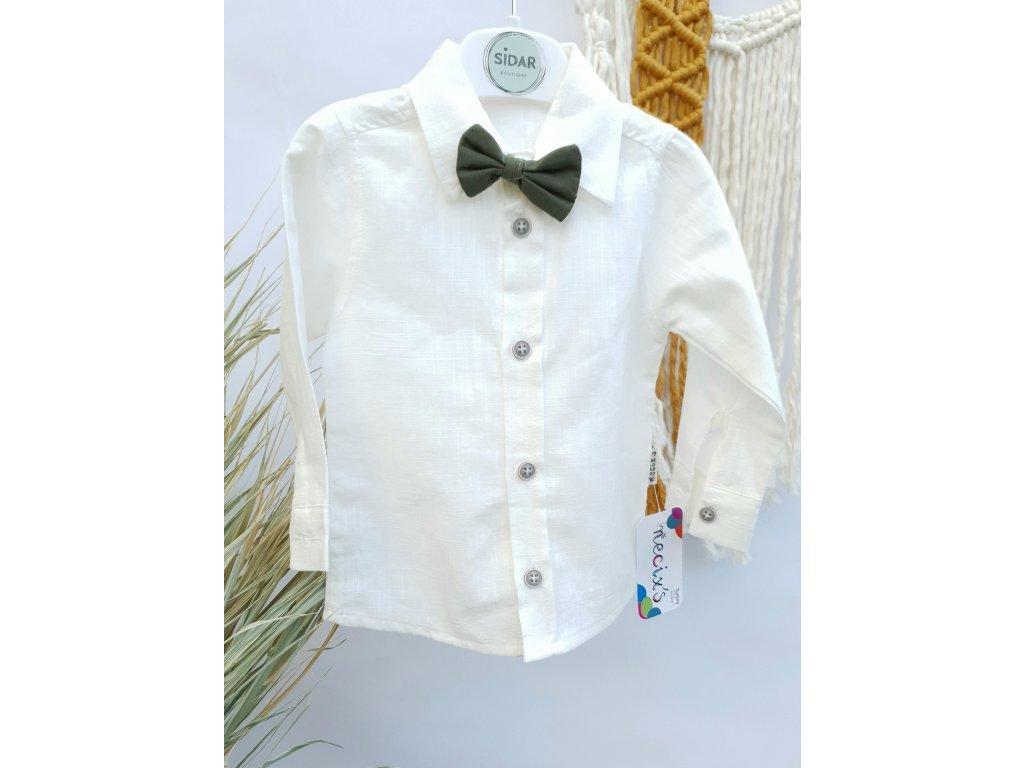 Luxusní sváteční bílá košile s motýlkem