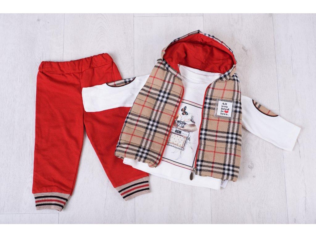 Dívčí souprava s vestou Burberry styl červená