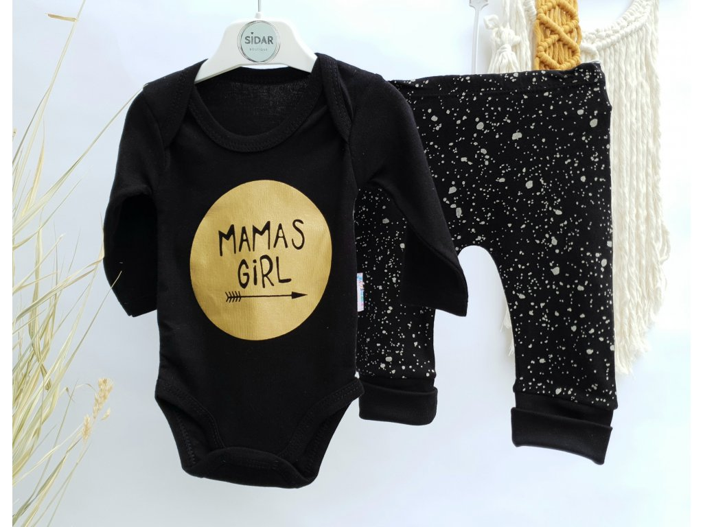 2-dílná černo-zlatá souprava Mama's girl