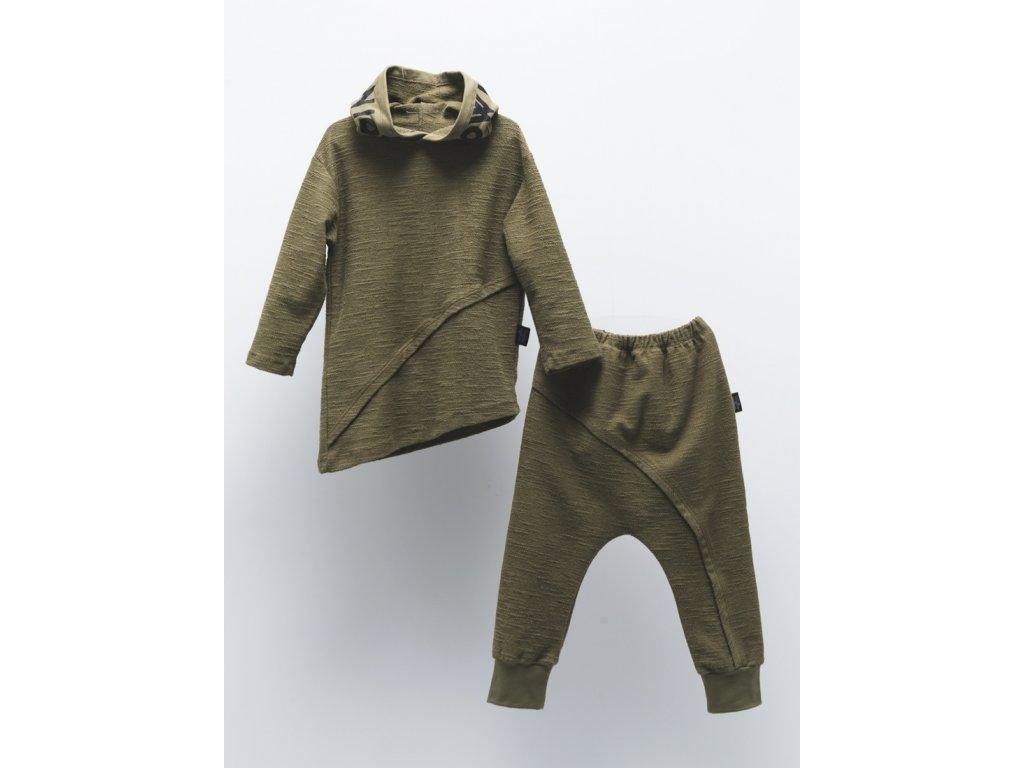 MOI NOI Tepláková souprava Asymetrie khaki s kapucí