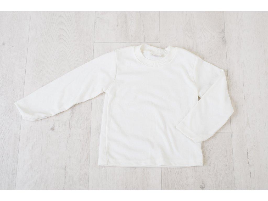 100% bavlněné bílé triko s dlouhým rukávem