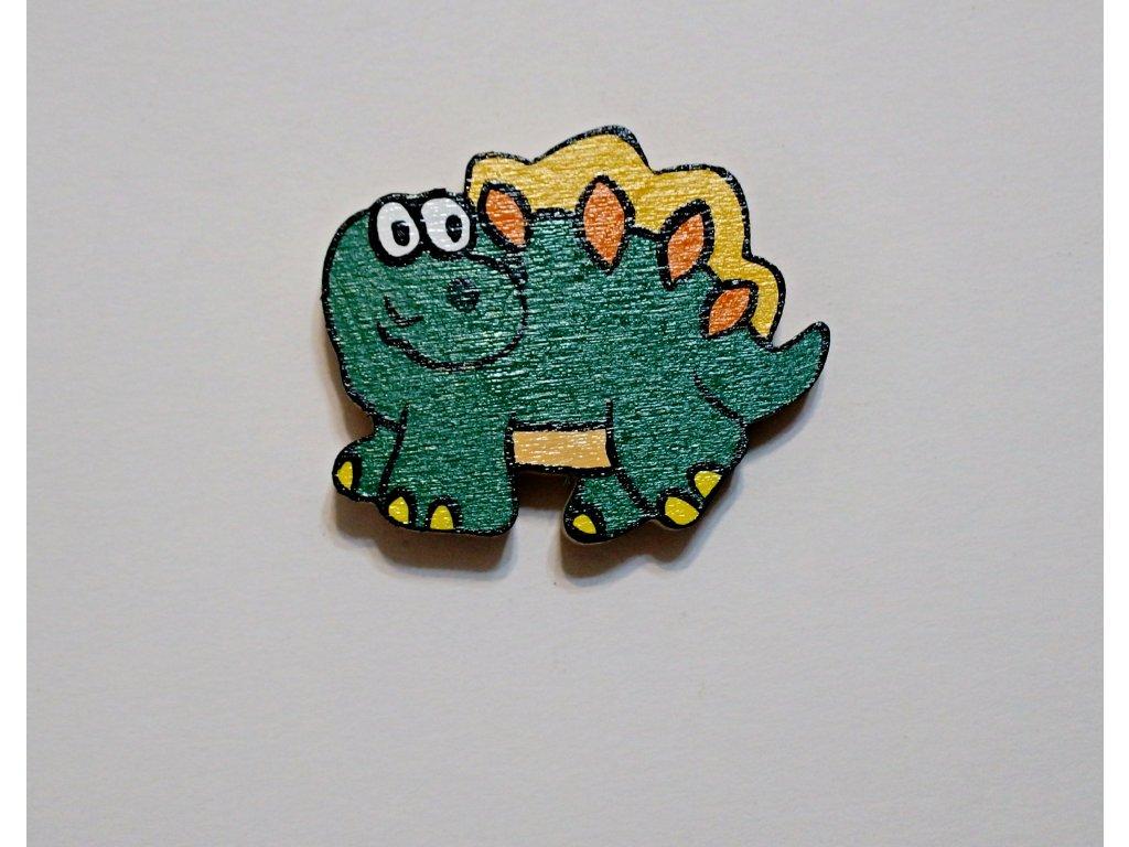 Dřevěný magnet Dinosaur