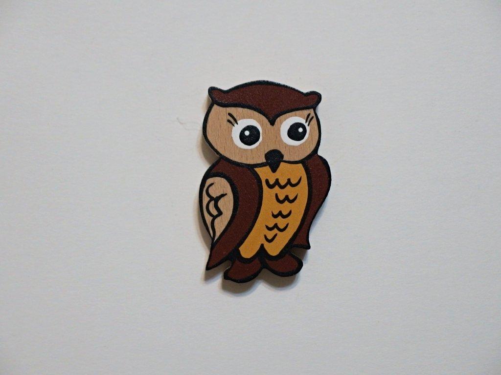 Dřevěný magnet Sovička