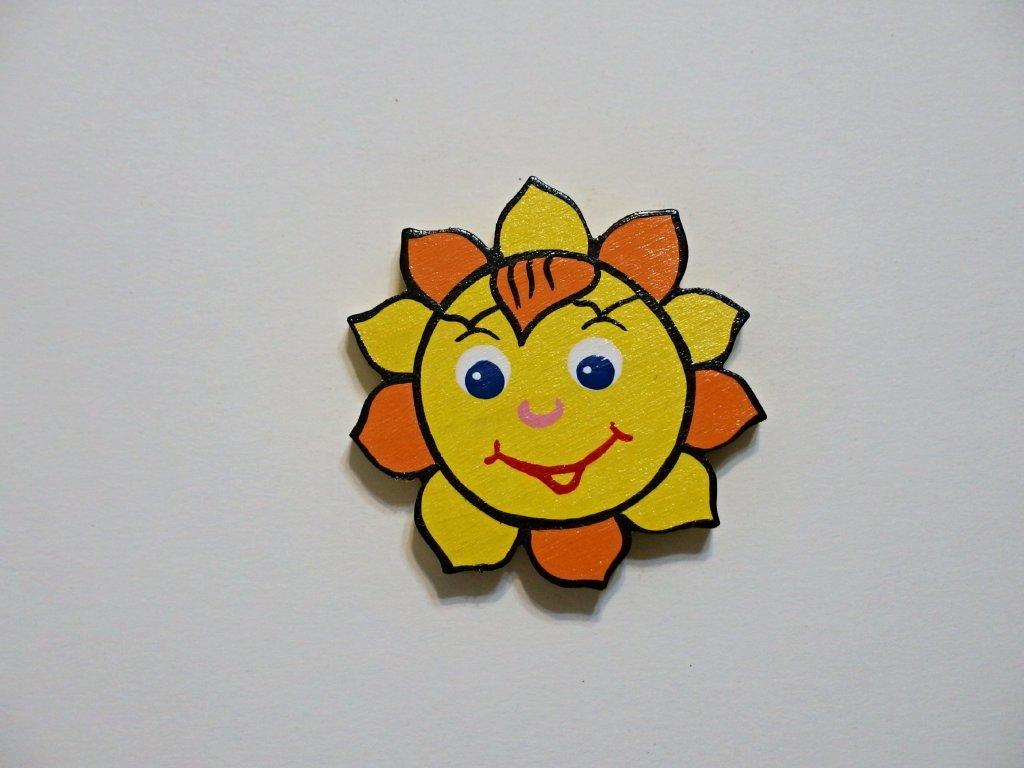 Dřevěný magnet Sluníčko