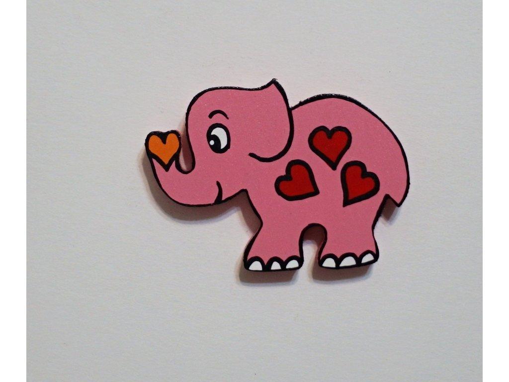 Dřevěný magnet Slon