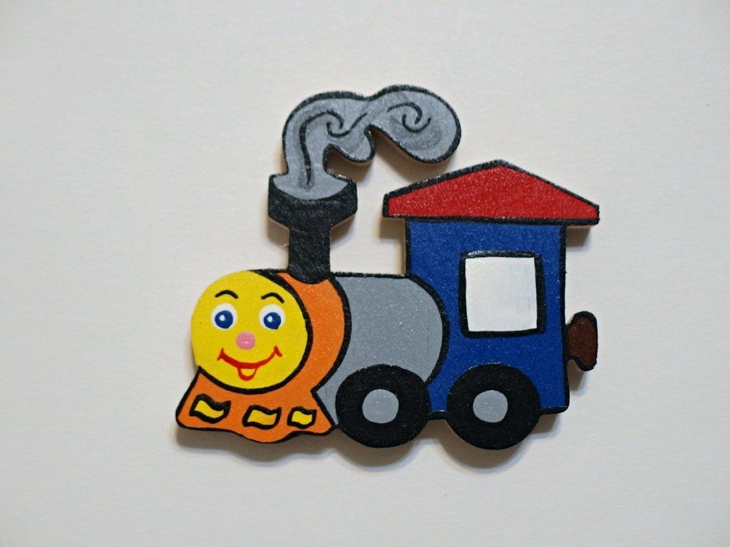 Dřevěný magnet Mašinka