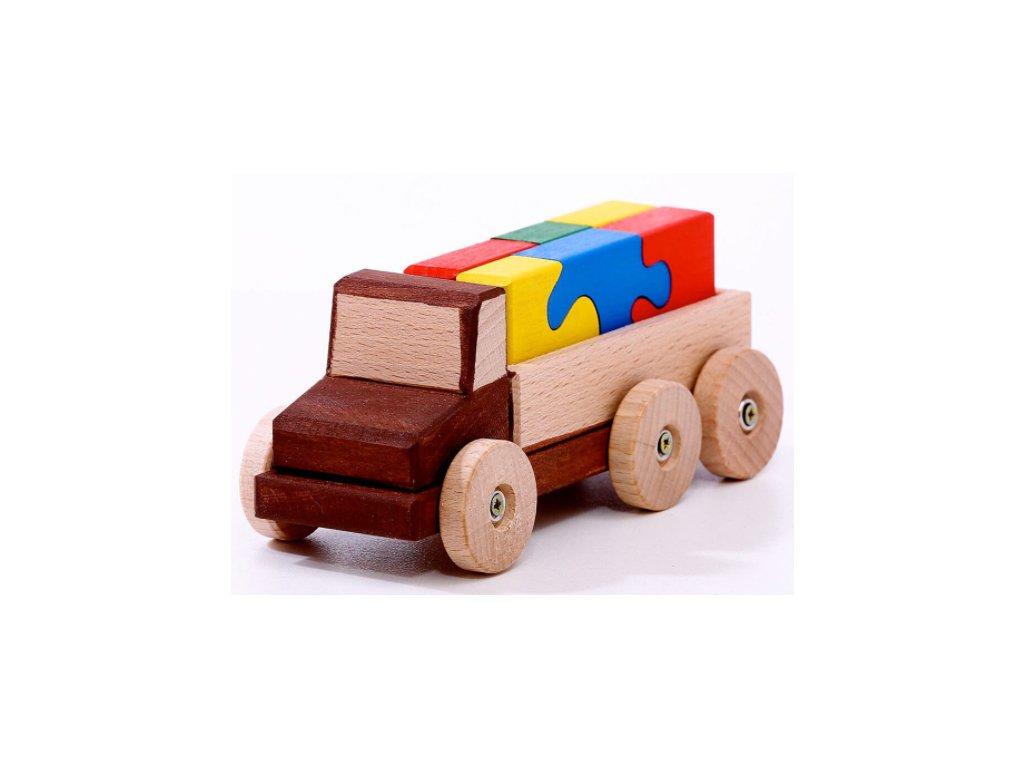 Dřevěné auto s hlavolamem