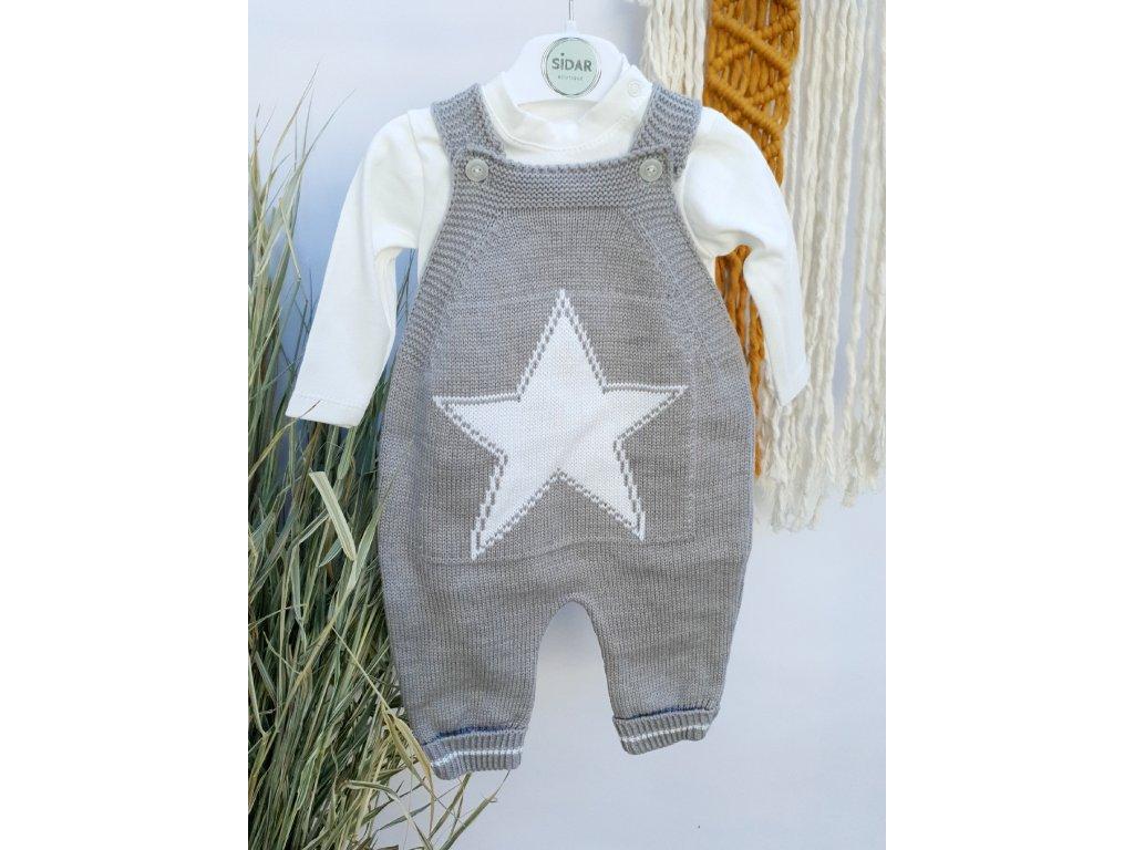 Souprava kalhot s laclem Hvězda šedá