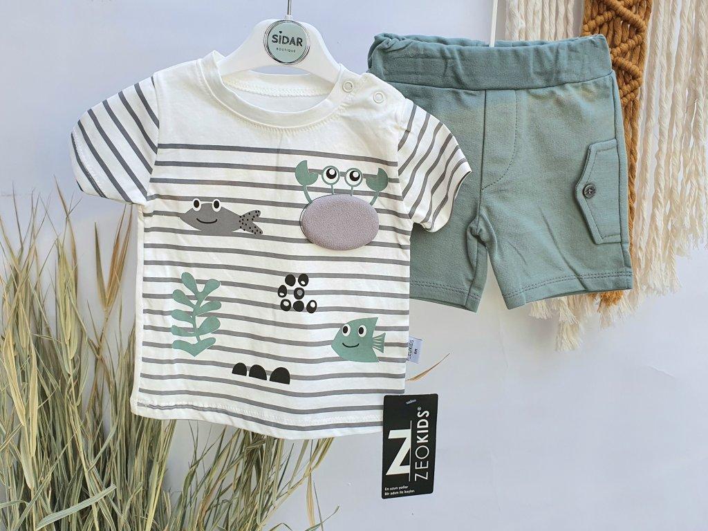 Letní set trička a kraťasů zelené moře