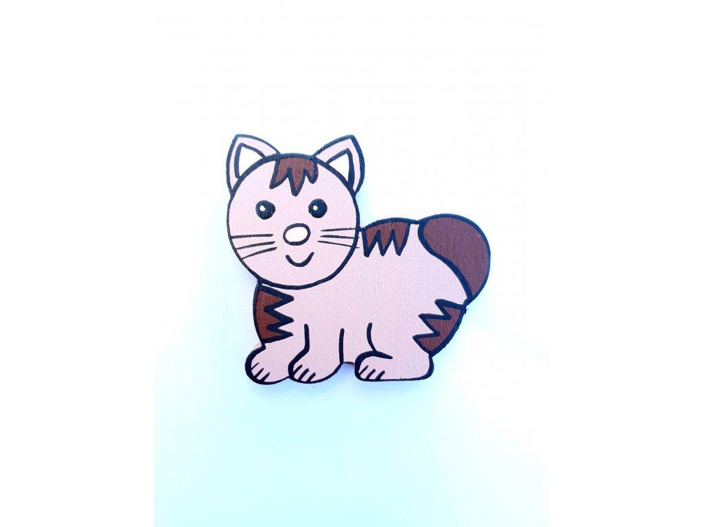 Dřevěný magnet Kočička světle hnědá