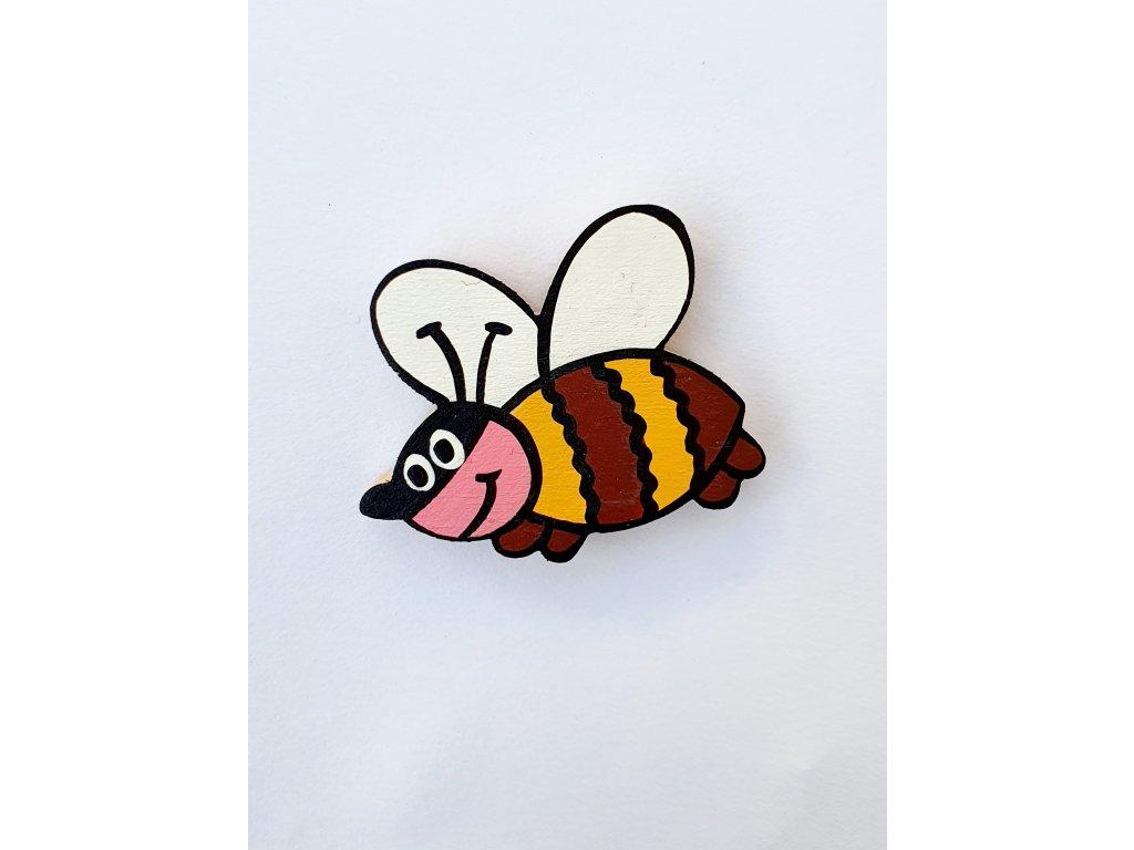 Dřevěný magnet Včelka