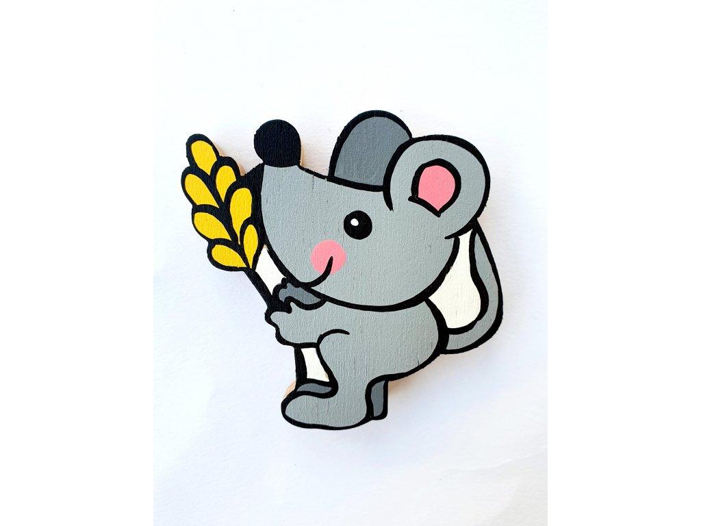 Dřevěný magnet Myška