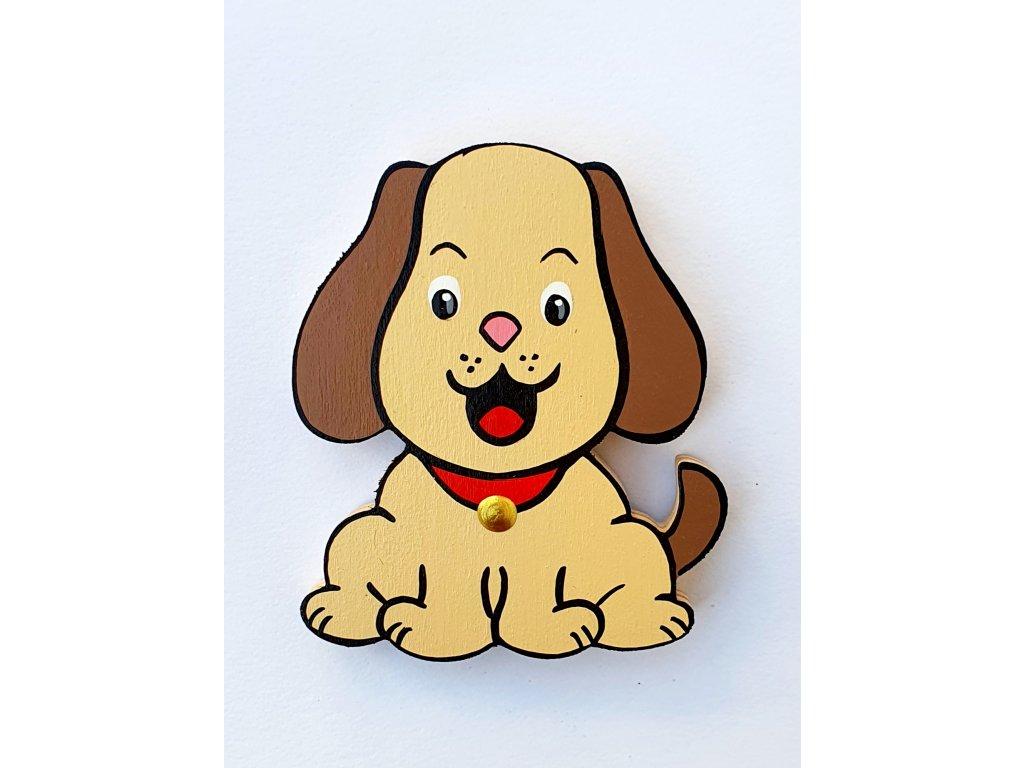 Dřevěný magnet Pes