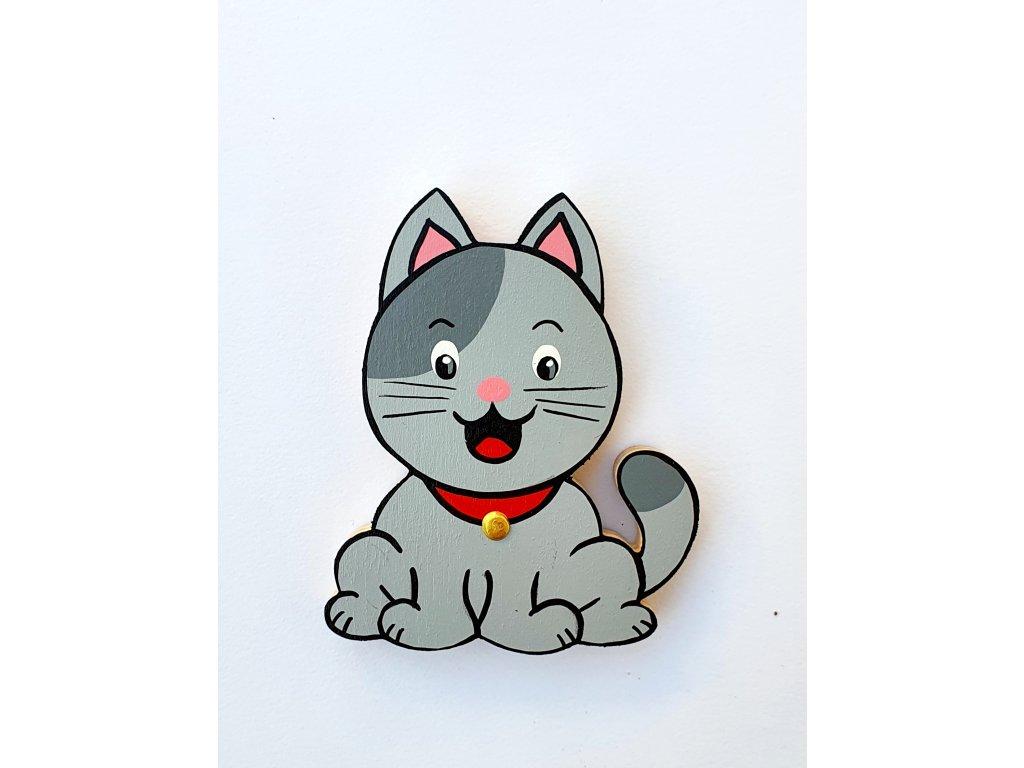 Dřevěný magnet Kočka