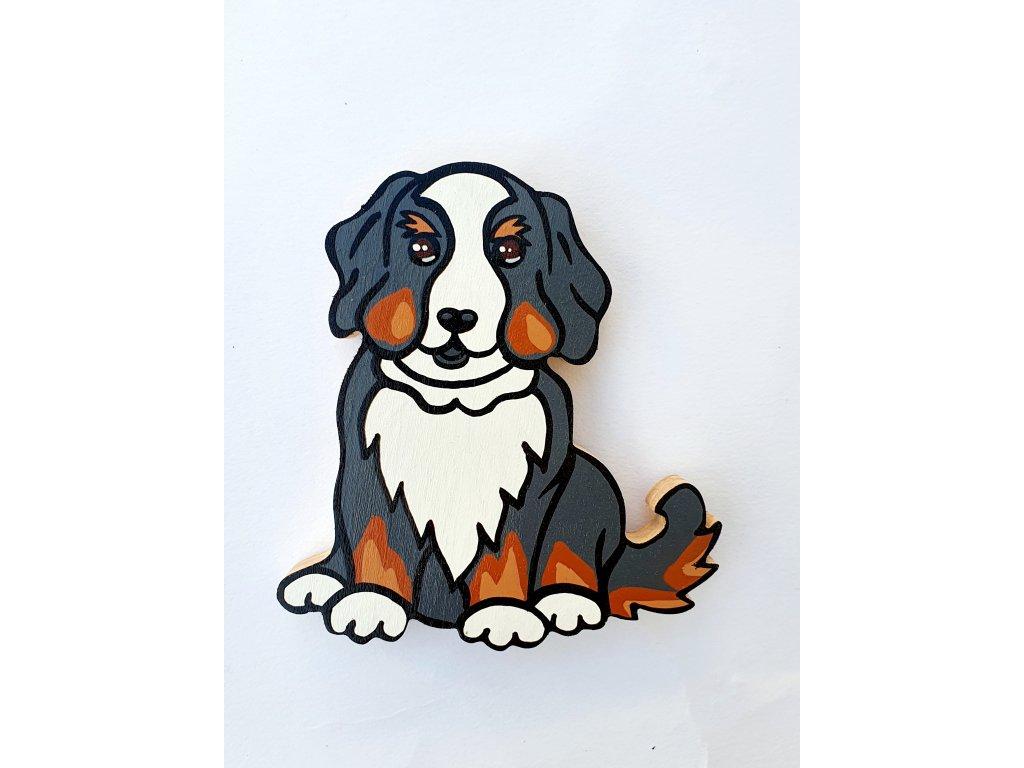 Dřevěný magnet Bernský salašnický pes