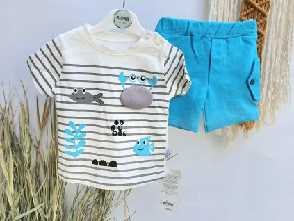 Letní set trička a kraťasů modré moře