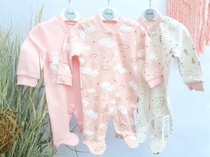Set 3 novorozeneckých dívčích overalů