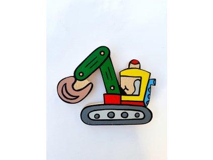 Dřevěný magnet Bagr
