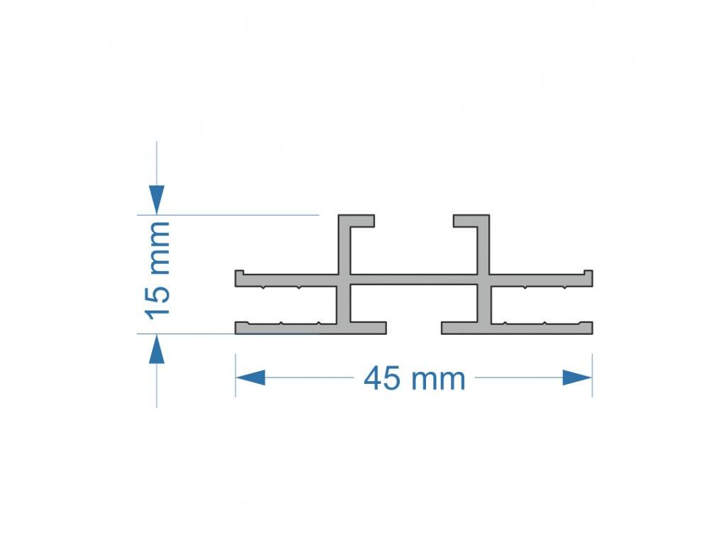 2805006 signtech kendu frame profil oboustranný 45x15mm pro textilní panely