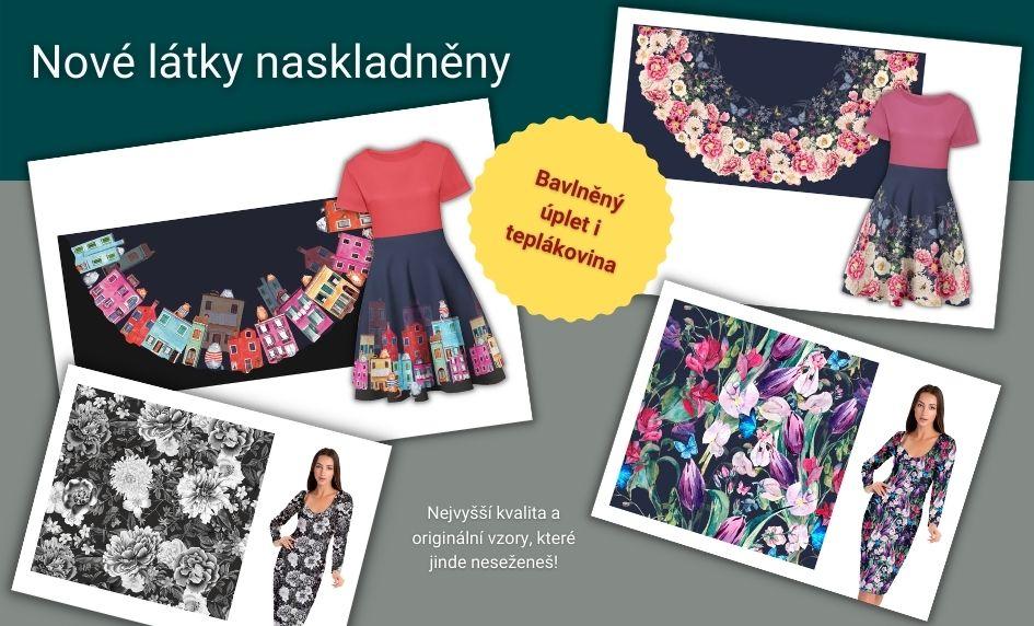Nové látky skladem - série vzorů pro muže a nové silky na šaty a sukně.