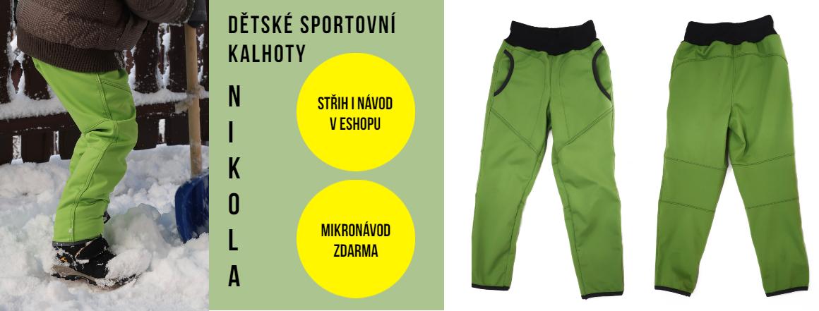 Dětské sportovní kalhoty Nikola - střih i návod v eshopu