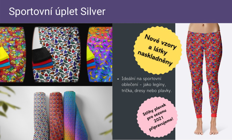 Nové vzory a látky v eshopu - sportovní úplet silver