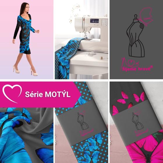 Série autorských panelů ze série Motýl - originální vzory na silky i bavlněném úpletu.