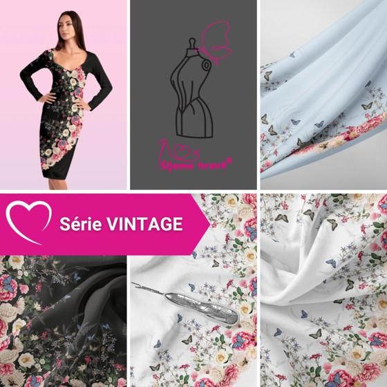 Série autorských panelů ze série Vintage - originální vzory na silky i bavlněném úpletu.