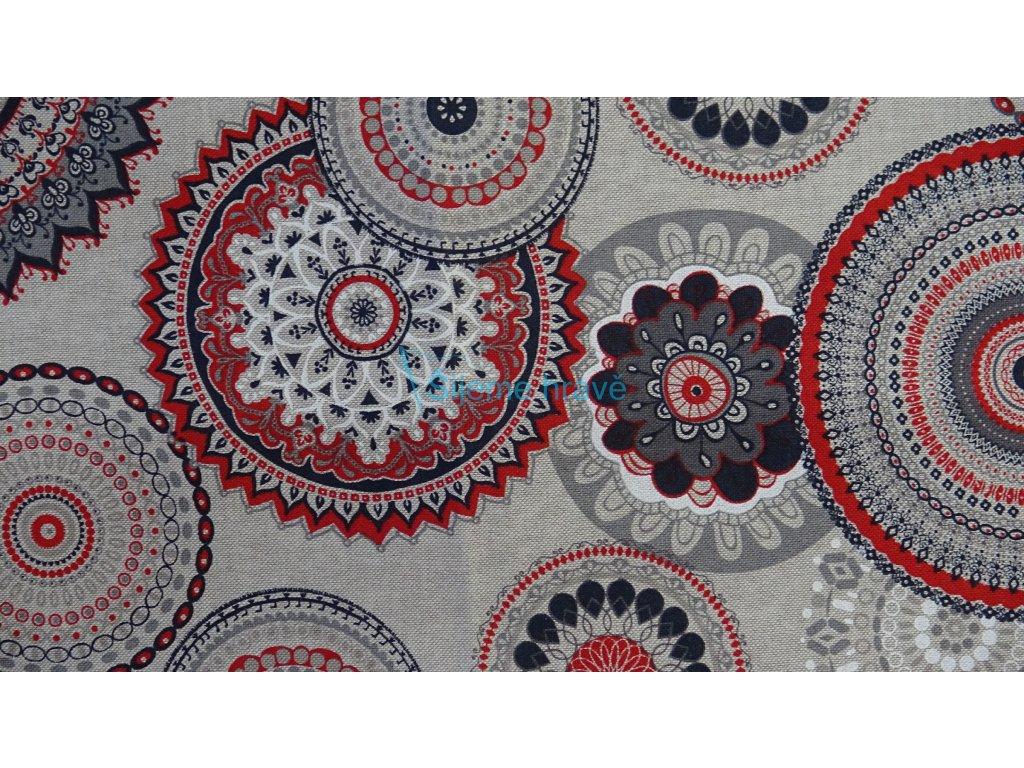 Vrchní díl bavlna mandala barevná-režná
