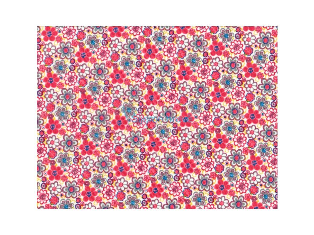 Vrchní díl bavlna drobná růžovomodrá kytička