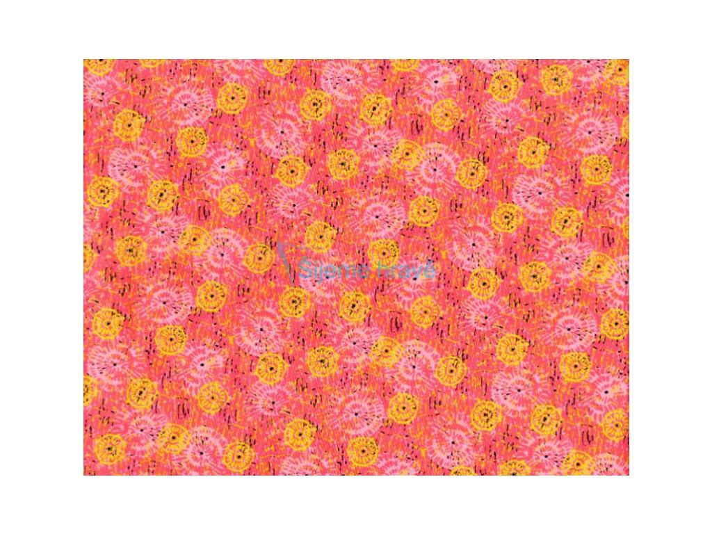 Vrchní díl bavlna Amerika žlutorůžová kytička