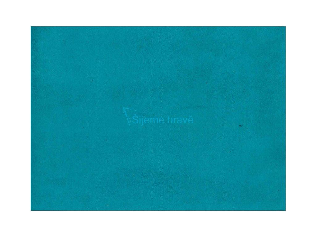Vrchní díl balerínek - modra/tyrkys syntetická kůže broušená