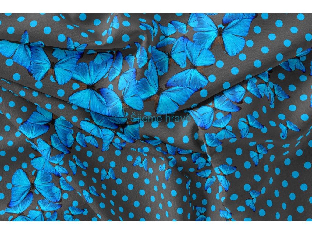 motýl modrý bavlněný uplet panel