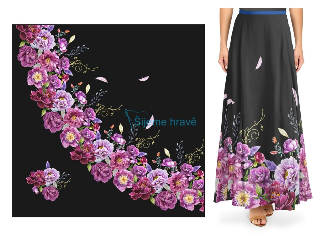 panel silky pivonky dlouha pulkolova sukne