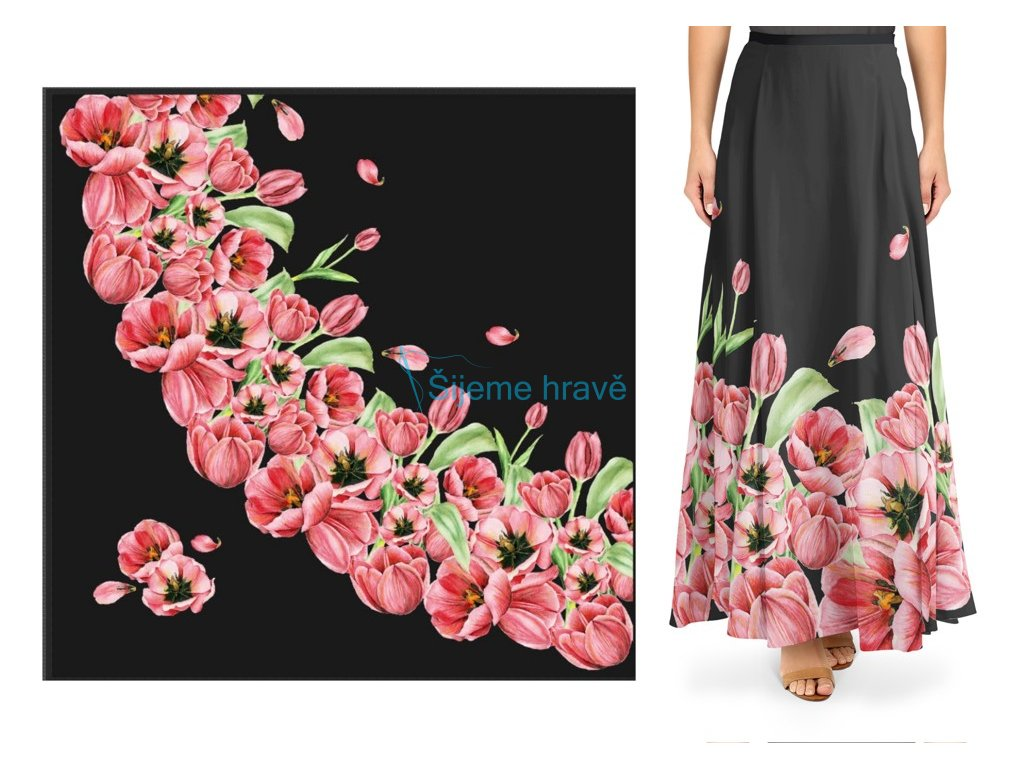 panel silky tulipany dlouha pulkolova sukne
