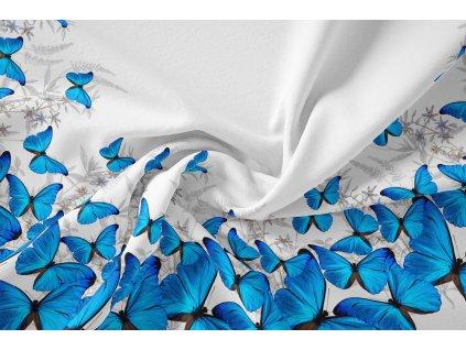 pulkolovka modrý motýl bavlněný uplet panel