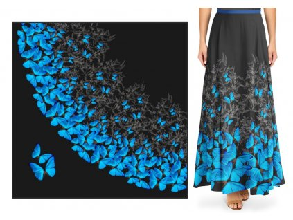 panel silky modry motyl dlouha pulkolova sukne