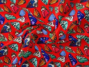Motýl červený - panel 157x80- Bavlněný úplet