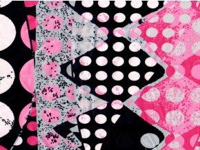 Vrchní díl balerínek - abstrakt růžovočerný