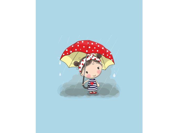 Panel holčička červený deštník