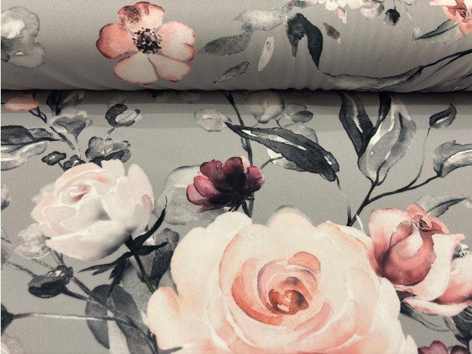 Softshell květy na šedé