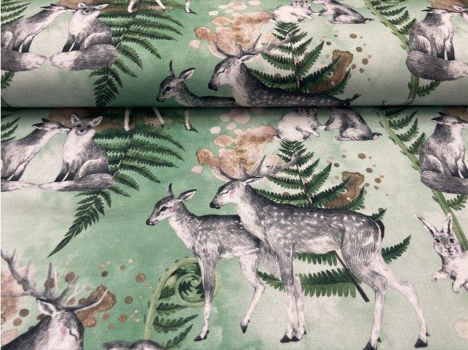 Teplákovina nepočesaná jeleni na zelené